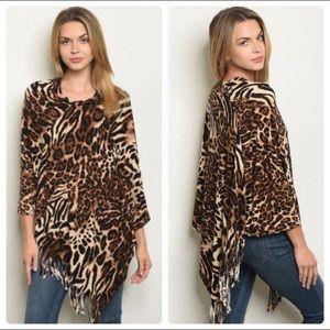 Leopard Print Poncho